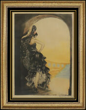 Louis Icart HAND SIGNED COLORED ETCHING Windmill Stamp Seville Art Deco Artwork