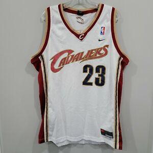 VTG Nike NBA Cleveland Cavaliers LeBron James 23 Rookie White Jersey Mens L Sewn