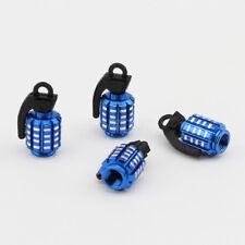 4x Blue Aluminum Wheel Rim Tyre Valve Stem Caps Bomb Style For Mack Truck