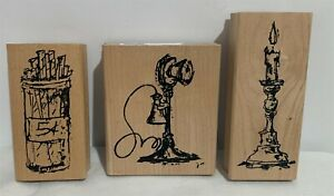 Art Impressions ANTIQUES Vintage Phone Candle Candy Rubber Stamps Lot of 3