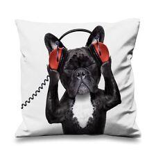 French bulldog dj fausse soie 45cm x 45cm canapé coussin