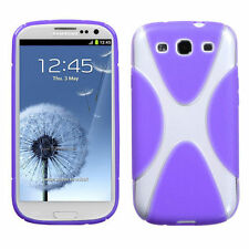 For Samsung Galaxy S III 3 S3 TPU X-Shape Flexi Gel Skin Case Cover Purple Clear