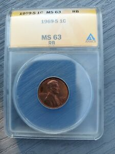 1969-S 1C MS63 RB Lincoln Memorial Cent ANACS MS63RB DDO DOUBLE DIE ERROR?