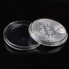 Bitcoin Silver Plated Physical Commemorative Bitcoin +Protective Acrylic Case #E