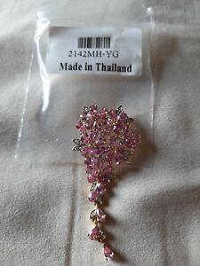 9k Ceylon Pink Sapphire & Diamond Gold Pendant