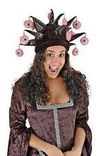 Creepy VERY HORNED Dangling Eyeball Jester Costume Hat cannibal halloween