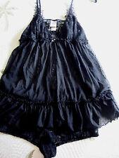In Bloom By Jonquil 2 Piece Floral Black Lace Babydoll Sleepwear Set Size M