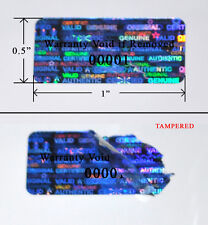 "2,000 SECURITY LABELS BLUE HOLOGRAM TAMPER EVIDENT  1""X .5""VOID SVAG PS3 PRINTED"
