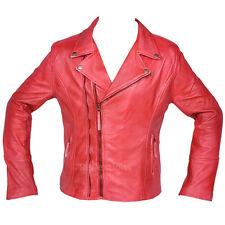 Women Leather Jacket Biker Style Lamb Biker Plain Cherry Leather Jacket