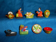 Chinese TEA Traditions Asian Set of 9 Mini Figurines FRENCH Tiny Porcelain FEVES