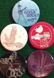 Hard Rock Cafe 2014 HRC 5 BUTTON Assorted PIN Set Girls Rock Live Love Eagle