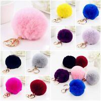 Furry Rabbit Fur Gold Ball Pom Pendant Car Keychain Handbag Charm Key Ring Soft