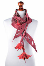 Red lace scarf with romantic felt flowers, impressive designer women accessory