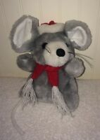 """Vintage Grey Christmas Mouse Plush String Tail Red Santa Hat Scarf 7"""" RN84499"""