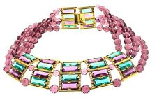 1970s WILLIAM DELILLO Runway Couture Huge Glass & Bead Statement COLLAR Necklace