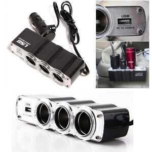 1 USB Charger Supply and Three Sockets Car Cigarette Lighter Extender Splitter