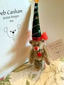 "Deb Canham Miniature  Christmas Mohair Teddy Bear 6"" Mint in Box  w/ COA"