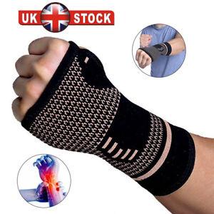 Copper Wrist Hand Brace Support Fit Carpal Tunnel Splint Strap Sprain Arthritis