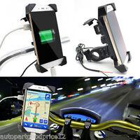 "Motorcycle Bike Adjustable 3.5-7"" Mobile Phone GPS Mount Holder with USB Charger"