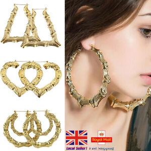 UK Punk Bamboo Earrings Hip-Hop Gold /Silver Ladies Hoop Hoops Bling Big Dangler