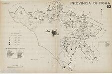 Provincia Roma: Tutti i Comuni nel 1938,Carta Topografica. Anno XVI Era Fascista