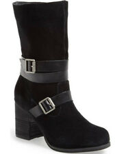 $119 NWB SBICCA Windmill Suede Leather Dress Boots Sz 7.5 BLACK Buckle Detail