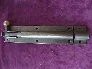Large  victorian circa 1880 iron and brass security door bolt