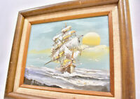 Vintage MCM Maritime Sailing Ship Sunrise Oil Painting Frame Nautical Sea Sunset