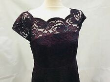 Marks and Spencer M&S Cotton Burgundy Short Sleeved Lace Dress Size 10 Petite