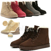 Women Winter Warm Faux Suede Casual Fur Lace-up Ankle Boots Snow Bootie  *
