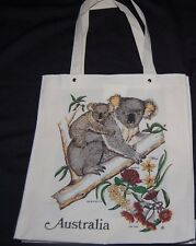 Australian Souvenir Tote Hand Bag Shopper Purse Cream Kangaroo Koala Bear Floral