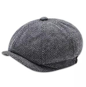 Peaky Blinders Hat Newsboy Flat Cap Herringbone Tweed Wool Baker Boy Gatsby