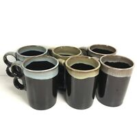 Vintage Brown Drip Glaze Double/2/Two Finger Pottery Coffee Cup Mug Lot Of 6