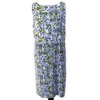 J Jill Sleeveless Dress Womens L Blue White Green Floral Accordian Pleat Shift