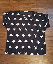 Black and white star print top size L