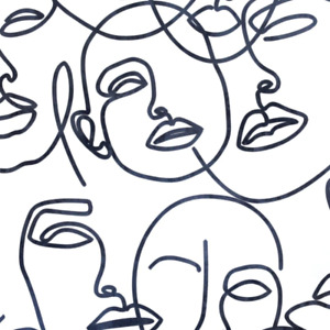Black and White Abstract Faces Wallpaper Linear Mono Design by Arthouse 921607