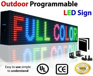"""FULL COLOR LED SIGNS 7"""" x 76"""" STILL SCROLLING TEXT IMAGE ANIMATION OPEN BOARD"""