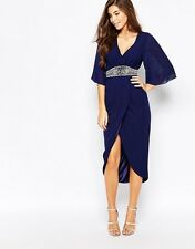 TFNC Embellished Midi Dress With Kimono Sleeves & Wrap Skir (NAVY)RRP £50.00