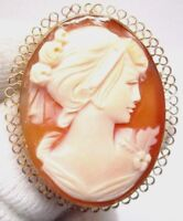 14K Yellow Gold Vintage Hand carved Cameo Pin Pendant