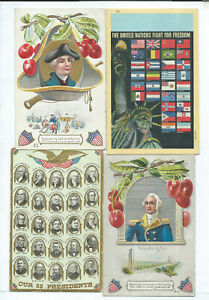 Lot of 4 George Washington  Postcards Patriotic Political United Nation Flags
