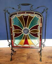 c1880 Antique Victorian Stained Glass Fire Screen cut glass centre star Plaque.