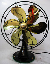 Antique Emerson Fan 6-Brass Blade 12-in, Model 71666 3-spd Oscillating