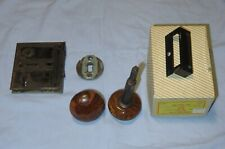 Vintage Antique Marble Glass Brown Doorknobs with Lock Mechanism and Extras.