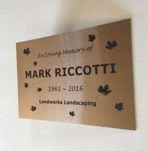 Commemorative Plaque Custom Laser Engraved Stainless Steel 300 x 200 mm