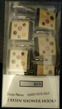12 Resin Shower Hooks Popular Bath Sunset Dots Gold