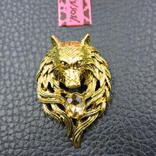 Johnson Charm Animal Brooch Pin Gift Gold Enamel Rhinestone Wolf Head Betsey