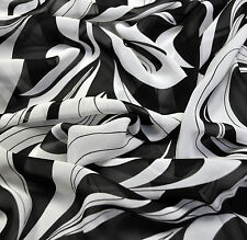SALE Chiffon viscose fabric, black and white Made in Italy See-thru Price for 1m