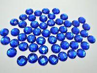 200 Royal Blue Flatback Acrylic Round Sewing Rhinestone Button 10mm Sew on beads