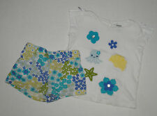 Gymboree Sea Splash Blue & Yellow Under The Sea Shorts Flower Top Girls 2T