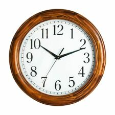 "Realspace || Solid Pine Wood || Case Round || 12"" Quartz Wall Clock 
